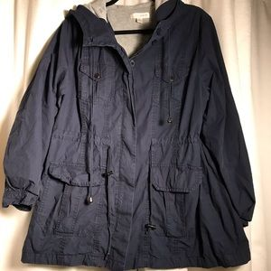 Forever 21 Plus Navy Hooded Utility Jacket